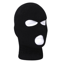Rothco Black Fine Knit Three Hole Facemask - 5989