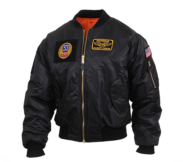 5682fd872 Rothco Black MA-1 Flight Jacket with Patches 7250