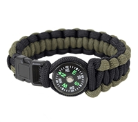 Rothco Black & Olive Drab Paracord Compass Bracelet - 999