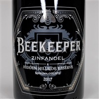 750ml bottle of 2017 Beekeeper Cellars Hidden Hillside Reserve Zinfandel from the Rockpile AVA of Sonoma County California