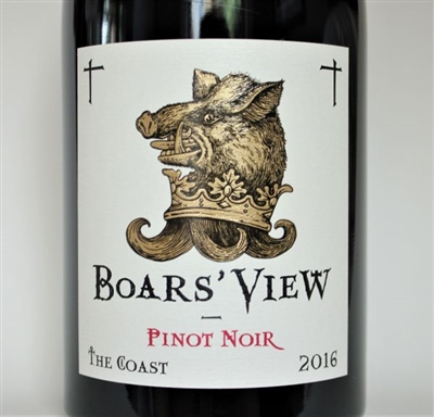 750 ml bottle of 2016 vintage Boars' View Pinot Noir by Schrader Cellars from the Sonoma Coast of California