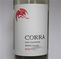 750ml bottle of 2019 Corra Wines Tail Feathers white blend of Viognier Muscat Blanc and Riesling from the Rogue Valley of Southern Oregon by Winemaker Celia Welch