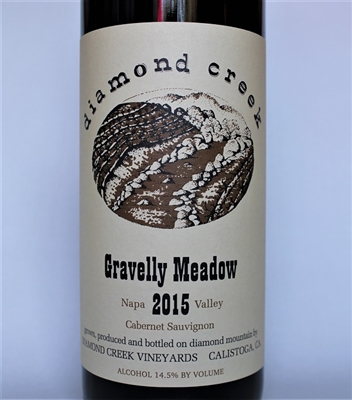 750ml bottle of 2015 Diamond Creek Vineyards Gravelly Meadow Cabernet Sauvignon from the Diamond Mountain AVA of Napa Valley California