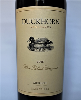 750 ml bottle of 2015 Duckhorn Vineyards Three Palms Merlot from the Calistoga AVA of the Napa Valley in California