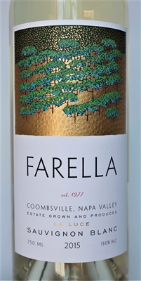 750ml bottle of 2015 Farella La Luce Estate Sauvignon Blanc from the Coombsville AVA of Napa Valley California