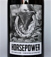 750ml bottle of 2015 Horsepower Grenache from the Sur Echalas Vineyard in Walla Walla Valley of Washington State