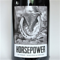 750ml bottle of 2017 Horsepower Syrah from Sur Echalas Vineyard in Walla Walla Valley of Washington State