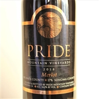 750ml bottle of 2018 Pride Mountain Vineyards Merlot from Napa and Sonoma Counties in California