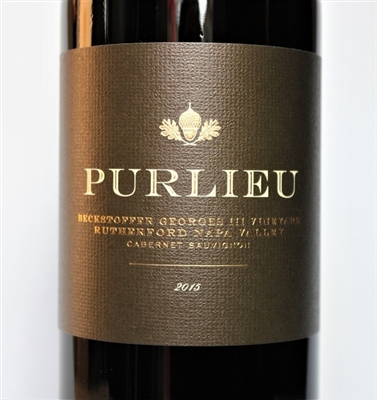 750 ml bottle of 2015 vintage Purlieu Wines Cabernet Sauvignon from the Beckstoffer Georges III vineyard in Rutherford AVA of Napa Valley California