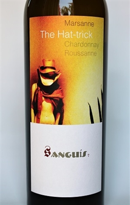 750ml bottle of 2014 Sanguis The Hat-Trick white wine blend of Marsanne Chardonnay and Roussanne from the Central Coast of Santa Barbara County California