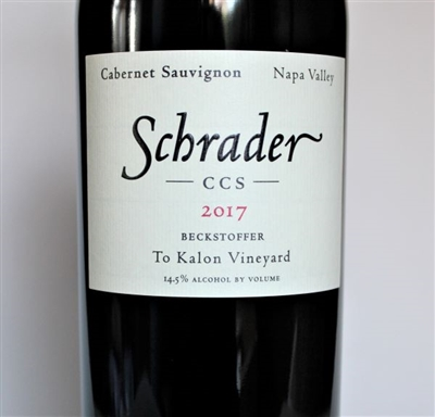 750 ml bottle of 2017 Schrader Cellars CCS Beckstoffer To Kalon Vineyard Cabernet Sauvignon from Napa Valley in California