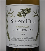 750 ml bottle of 2013 Stony Hill Vineyard Chardonnay a white wine from the Spring Mountain District of Napa Valley California