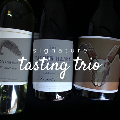 Three 750ml bottles of wine for $98 on the Signature Tasting Trio including Y. Rousseau Colombard Walter Hansel Pinot Noir and Disciples by The Crane Assembly