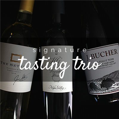 Three 750ml bottles of wine for $98 on the Signature Tasting Trio including The Setting Sauvignon Blanc Hourglass HGIII and J. Bucher Pinot Noir