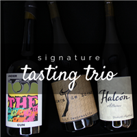 Three 750ml bottles of wine for $98 on the Signature Tasting Trio including Bodega de Edgar Tempranillo Halcon Alturas Syrah and Levo Under the Gun Petite Sirah