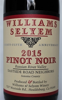 750 ml bottle of 2015 Williams Selyem Eastside Road Neighbors Pinot Noir from the Russian River Valley of Sonoma County Calfornia
