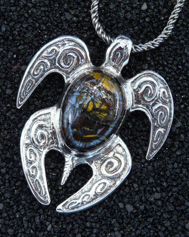 Made in hawaii sea turtle spirit honu large pendant pietersite alternative views mozeypictures Images