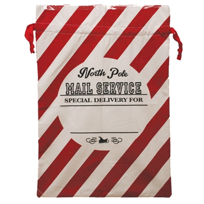 Merry Christmas Santa Sack printed with candy cane stripe