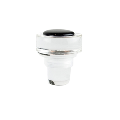 Clear Glass Wine Stopper with Black Jewel Closure Cork It Crystal