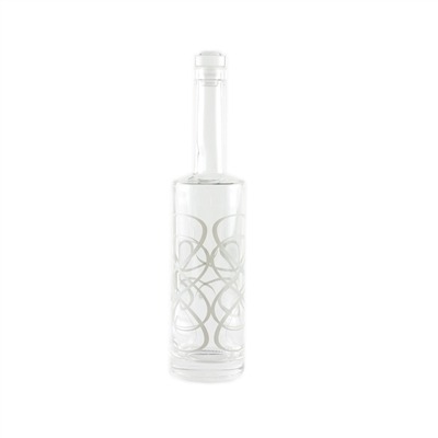 Scroll Glass Bottle by di Potter black white silver clear jewel crystal top seal wine stopper