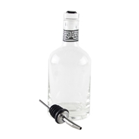Jewel Top Oil & Vinegar Bottle with crystal top and also stainless steel pourer. The neck is decorated with a modern greek key pattern designed by di Potter and made in the USA.