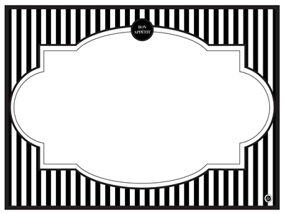 Modern Menu Placemats black white stripe reversible name card place card bistro