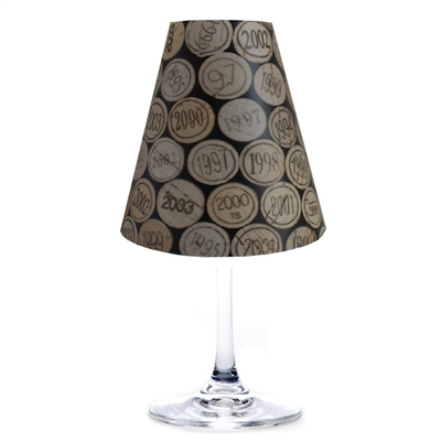 Corks translucent paper white wine glass shades.  Available in parchment and white.  Made in the USA.