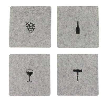 Wine Tools Wool Coaster Light Gray set of 4