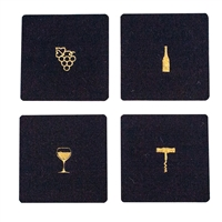 Wine Tools Wool Coaster Navy set of 4