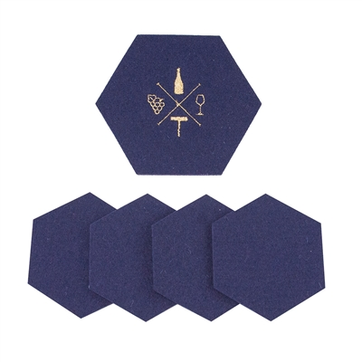 Wool Wine Tasting Coasters Navy set of 5