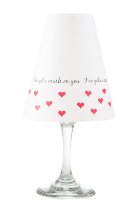 I've got a crush on you pattern translucent paper white wine glass shades.  Available in red.  Made in the USA.