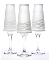 Her Pearls Paper Champagne Glass Shades. Black or white pearl pattern on white background.