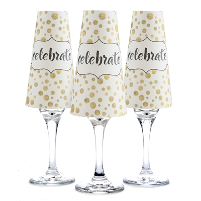 Set of six Celebrate paper champagne glass shades.  Made in the USA.