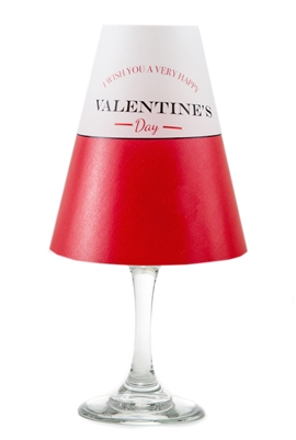 Happy Valentine's Day pattern translucent paper white wine glass shades.  Available in red.  Made in the USA.