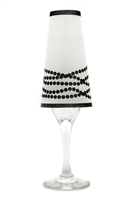 Her Pearls Champagne Shades by di Potter in a pearl pattern in black or white on vellum paper made in the USA for a champagne glass with a flameless tea light for bridal showers