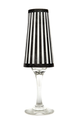 His Tux Champagne Shades Party Pack by di Potter set of 12 or 48 wine glass shades in black or white stripe printed on vellum paper made in the USA for bridal showers or bachelor parties