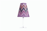 Ikat Red Wine Glass Shades by di Potter are a pink violet and deep purple color with orange accents in a ikat chevron zig zag modern pattern made of vellum paper place on a wine glass with a flameless tea light