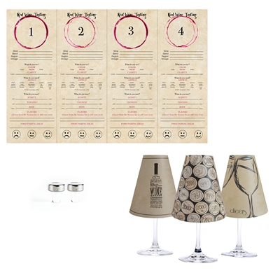 Wine Tasting  White Wine Glass Shades  Set of 6 by di Potter.  it's easy to host a wine tasting party with translucent paper white wine glass shades and coordinating tasting mats.