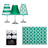 St Patrick's Day Party  White Wine Glass Shades  Set of 6 by di Potter.  it's easy to decorate for the night with translucent paper white wine glass shades and tea lights.