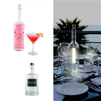 Gift the gift of a cocktail party all in one box. Set includes scroll bottle with crystal top, white bottle light and mixology bottle with a silver coated top by di Potter.