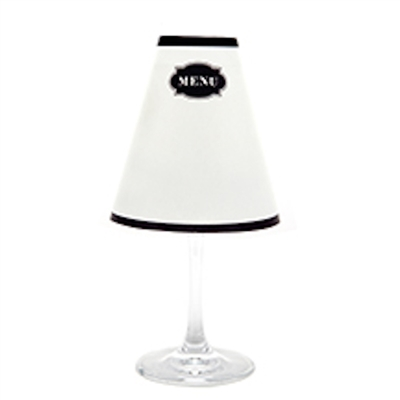 Modern Menu White Wine Glass Shades Party Pack by di Potter contains 12 or 48 shades in a package white shade with a black menu sign to write your own menu add to a wine glass with flameless tea lights