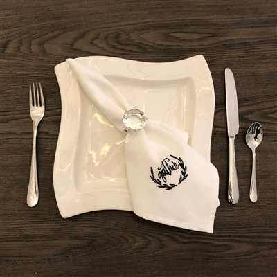 Gather Black Embroidered Napkin Set of 4