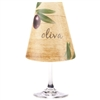 Oliva Red Wine Glass Shades Party Pack by di Potter brown wood barrel background purple olive green add to a wine glass with a flameless tea light.