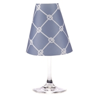 Nautical Rope translucent paper white wine glass shades by di Potter. Available in fog gray, sea blue, and whitewash.  Made in the USA.  For use with a flameless tea light.