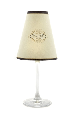 Paris street sign translucent paper white wine glass shades by di Potter.  Also available in red wine glass size.  Made in the USA.