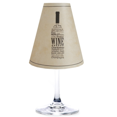 Wine bottle translucent paper white wine glass shades.  Available in parchment or white.  Made in the USA.