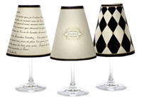 Set of 6 coordinating Paris street sign, harlequin and love poem pattern translucent paper white wine glass shades.  Also available in red wine glass size.  Made in the USA.