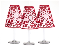 Holiday Snowflake White Wine Glass Shades - Set of 6 by di Potter merlot red white flocked paper vellum sits on a wine glass with a flameless tea light