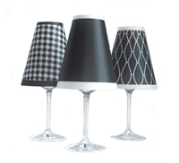 Classic Red Wine Glass Shades Set of 6 by di Potter Black White Houndstooth Chain Solid black white paper wine glass flameless tea lights vellum paper