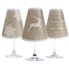 Holiday Burlap translucent paper white wine glass shades by di Potter. Christmas shades.  Set of 6 coordinating reindeer tree and snowflake shades.